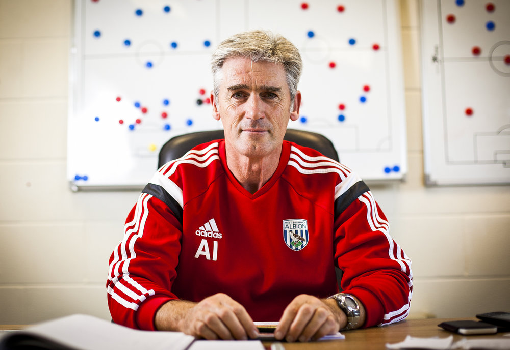 Alan Irvine, manager of West Bromwich Albion F.C photographed in his office at their training ground in Walsall, West Midlands.