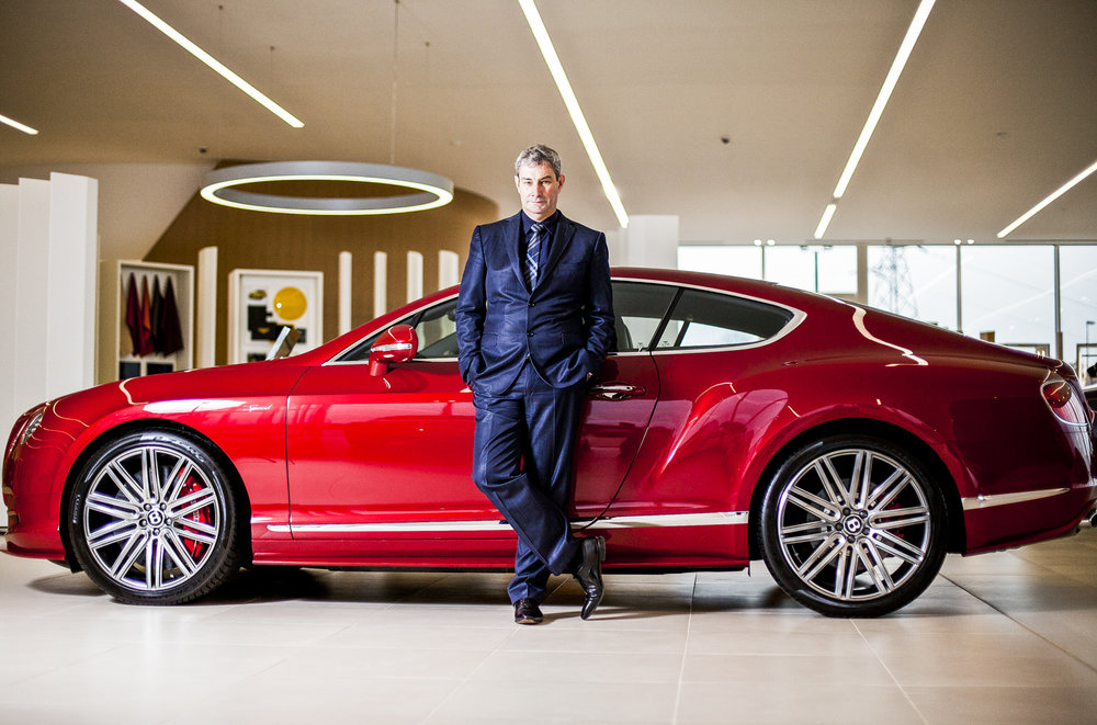 Luc Donkerwolke, Head of Design at Bentley, pictured at the showroom at the Bentley Factory in Crewe, Cheshire.