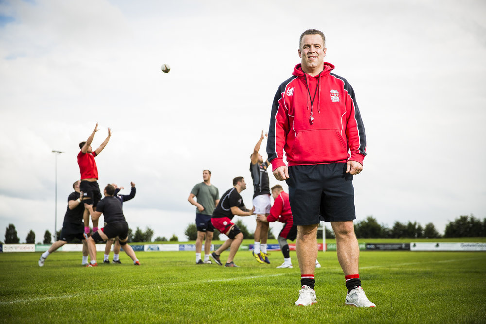 Former Ireland Rugby player Kevin Maggs during a training session at Moseley Rugby Club where he is now Coach.