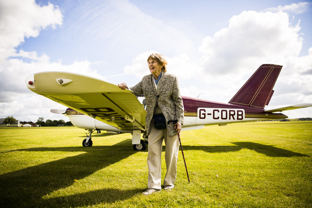 Joy Lofthouse, a Royal Air Force veteran  and former Spitfire Pilot, at RAF Cosford in Shropshire.