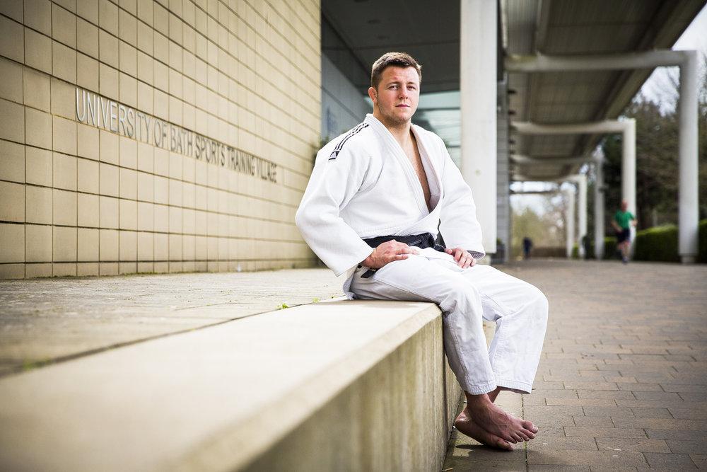 British Judo Olympic hopeful Ben Fletcher, at the Sports Training Village at the Univrsity of Bath.