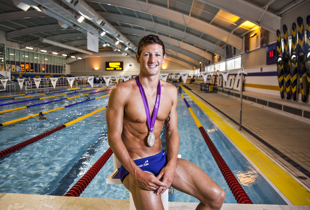 Olympic silver medalist swimmer Tom Jamieson at the Bath University Sports Centre