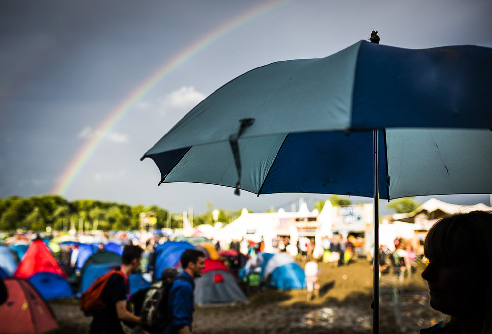 Rainbow over Glastonbury Festival