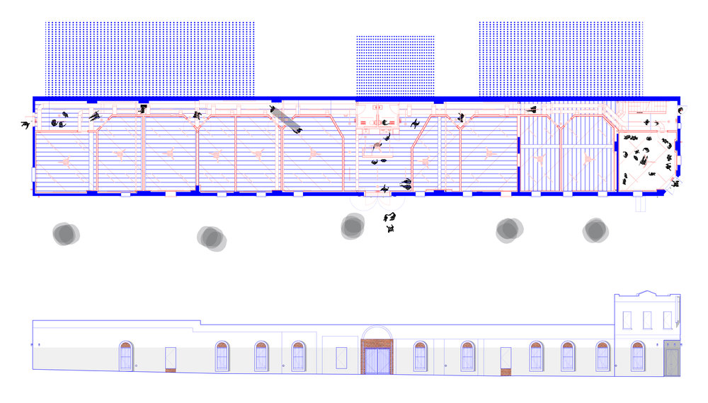 Plan and Reflected Ceiling Plan of the ground floor showing gallery spaces and studios. Blue = found; red = new. // Proposed Elevation