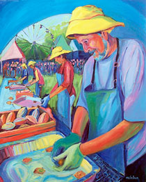 Clam Shuckers, oil on canvas, 2009
