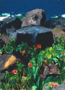 Rock/Monument, Peas , oil on panel, 2001