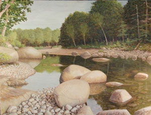 Wild River Idyll , acrylic on board