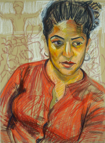 Joanna and Son , oil and pastel on canvas, 2004