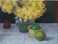 Daffodils with Fruit, oil on canvas, 2008
