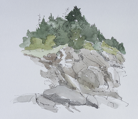 Ledges, Monhegan, watercolor and ink on paper, 2014