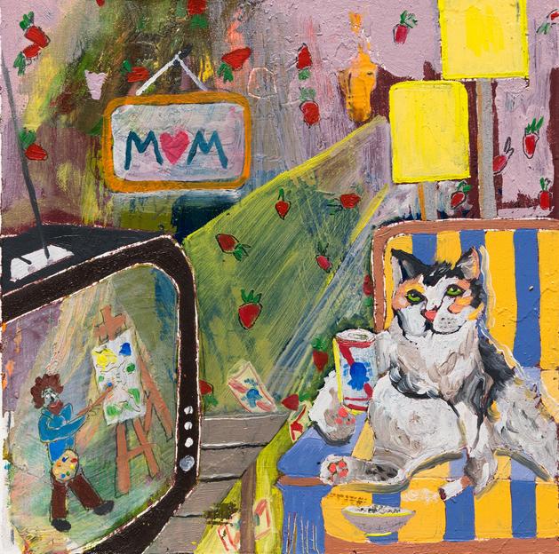 Bob Ross and Cat , 2017