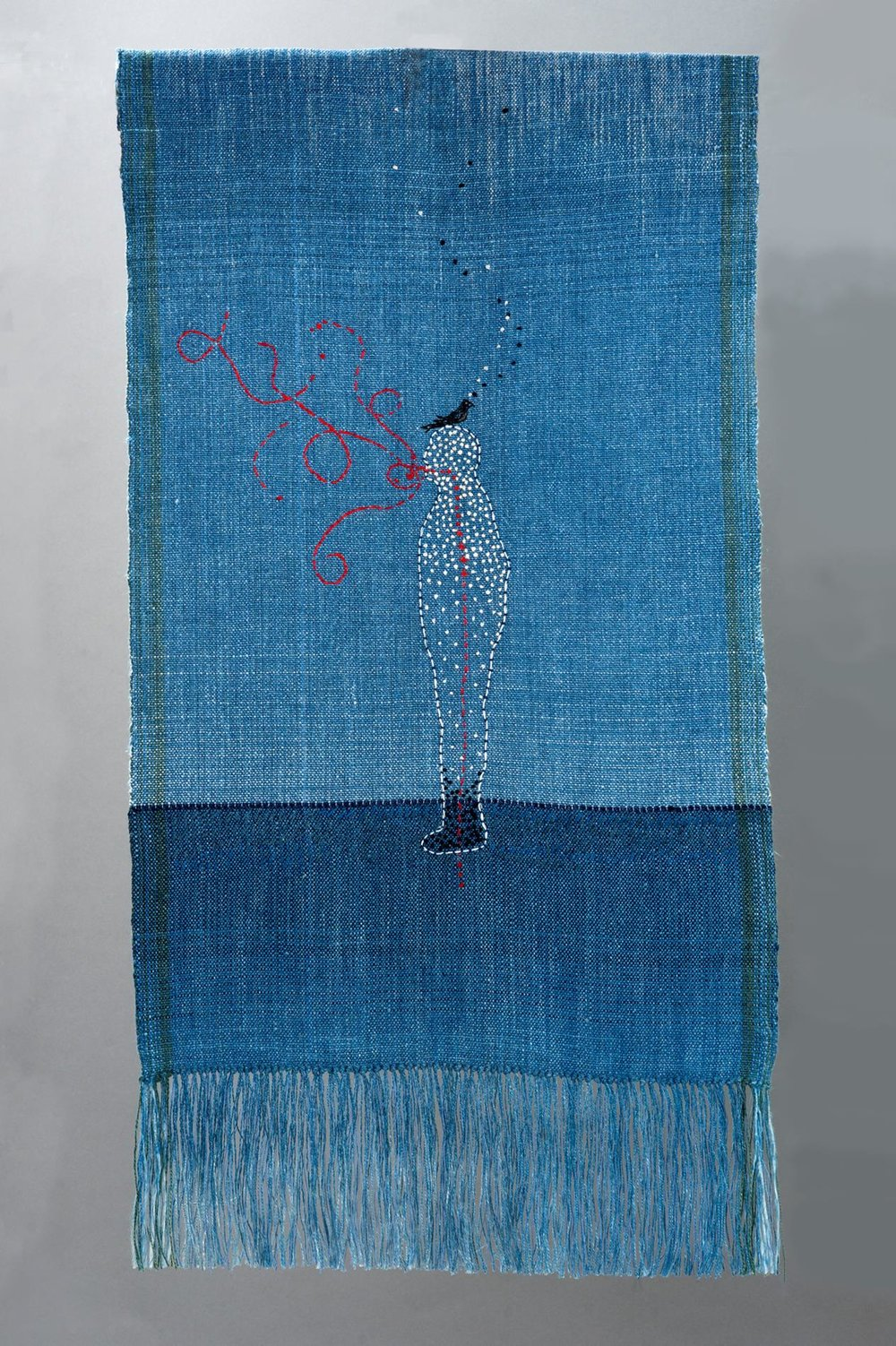 "Sarah Haskell,  Secrets of the Infinite , indigo dyed, woven linen, cotton embroidery thread, 15""x28"", 2017"