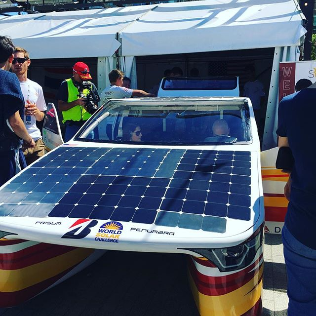 This solar powered car is big enough for the whole family, can go up to 110kph and can run for 300km on the battery alone.  The world solar challenge finished it's mammoth journey across Australia this weekend in Adelaide. Congratulations to all of the participants pushing innovation and working towards the future of transport.  #innovation #adelaide #worldsolarchallenge #solar #solarpoweredcar