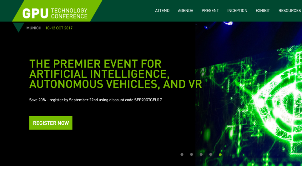 Nvidia GTC europe in munich [september'17] - RetinAI's efforts to transform ophthalmology via machine learning will be shown in this year's edition of the Nvidia GTC Europe. Don't forget to get a ticket to attend the presentation given by Stefanos Apostolopoulos (Technical Director) and Dr. Sandro De Zanet (Scientific Director). The talk will cover how the world of ophthalmology is changing thanks to AI and deep learning, both from a hardware and a software perspective!