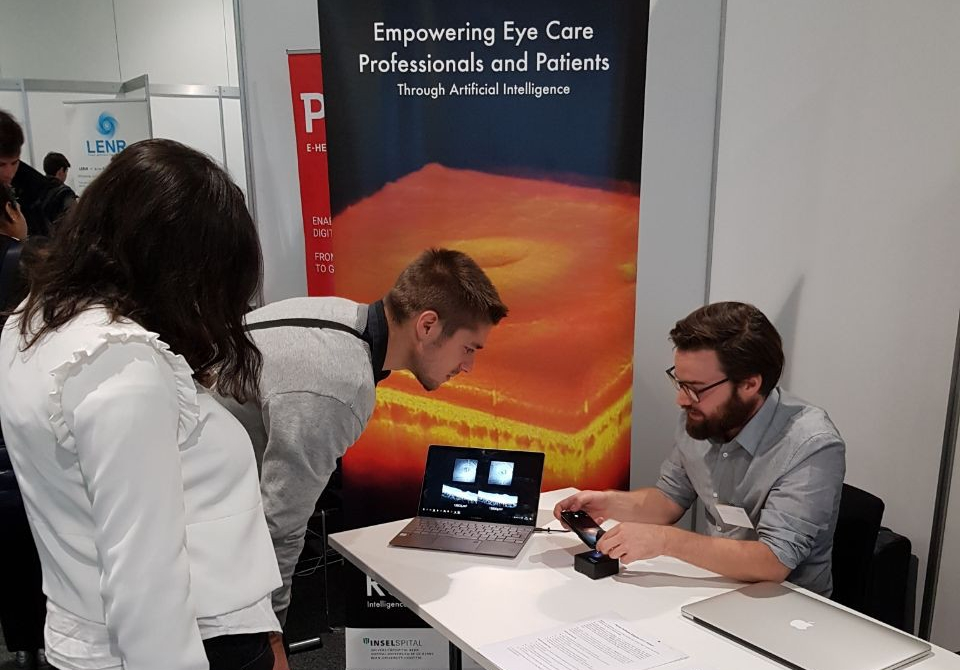 Forum EPFL - Startup Day [october'17] - RetinAI's booth on the Forum EPFL startup day received many visitors interested in the future of ophthalmology and medical eye care. Sam Stucky shared RetinAI's vision with students and showed how Artificial Intelligence (AI) will help bringing ophthalmology to those who need it the most and support current decision making pipeline in developing countries.