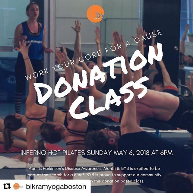 "Work your core for a cause! Details below👇@bikramyogaboston @teamfoxmjff @michaeljfoxorg ・・・ April is Parkinson's Disease Awareness Month and we are excited to be a part of the search for a cure!  We are proud to support The Michael J Fox Foundation and our local ""Team Fox"" members.  Won't you join us? -$20 suggested minimum donation -100% of the proceeds will go towards Parkinson's Disease research -Cash or check is preferred - Space is limited, sign up at the studio or email us at info@bikramyogaboston.com to reserve your spot  #bikramyogaboston #parkinsonsdiseaseawarenessmonth #helpus #findacure"