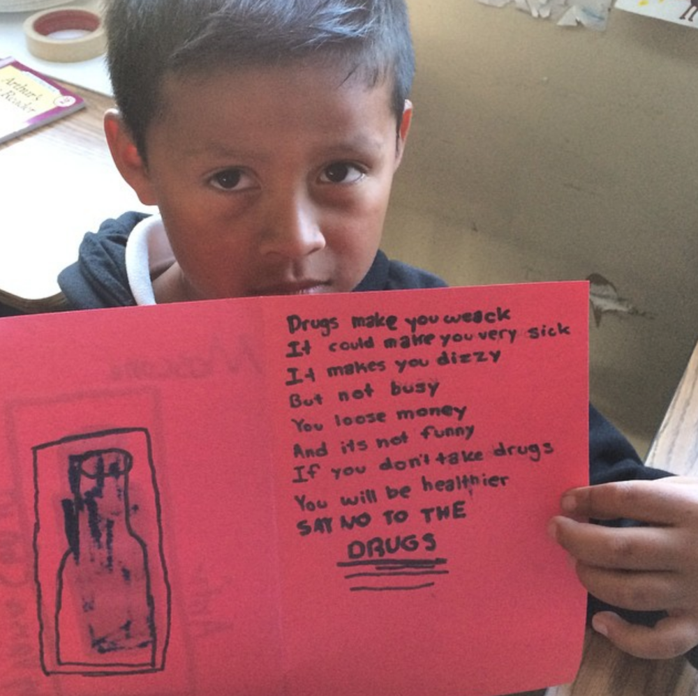 Moscone Elementary school students use poetry as a means to teach others about the dangers of drug use.