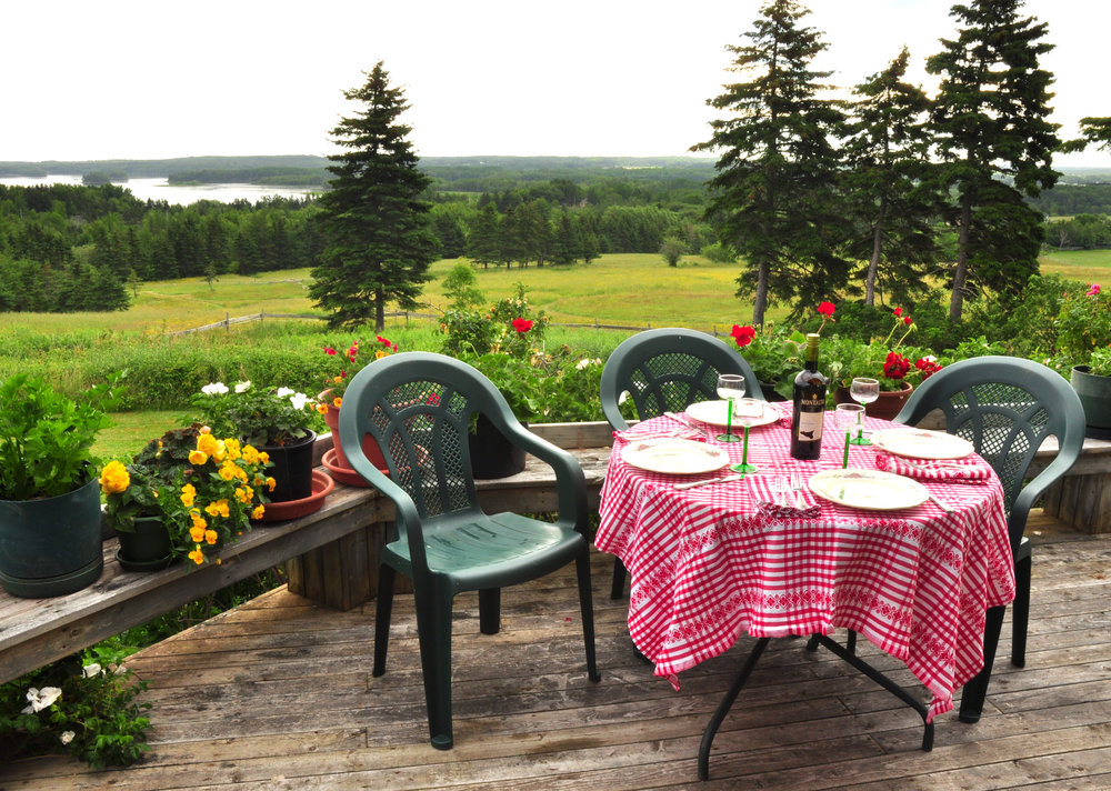 lunch on deck at Hill House - Beaver Dam Farm, Pomquet Village, Nova Scotia, Antigonish County