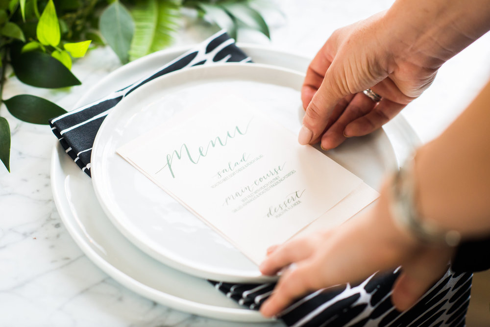 Maximize the sophistication of your event by incorporating your own hand-lettering + floral design skills.