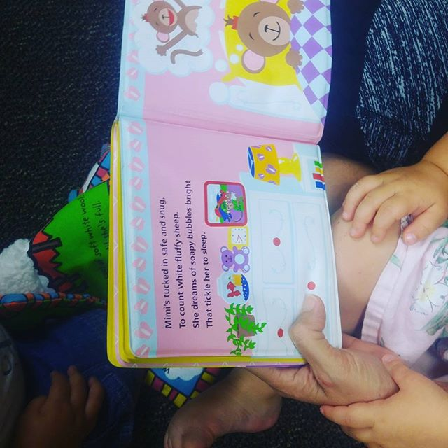"Reading stories is SO much fun. Add to the story by asking questions like ""do you see the monkey?"" and ""what color is her fur?"" or ""what shapes do we see?"" encourage your children to point to the page, and teach them to flip the lages gently. #reading #babybook #socal #preschool #babiesofig #literacy #earlychildhood #preschool #infantcare #bbla"