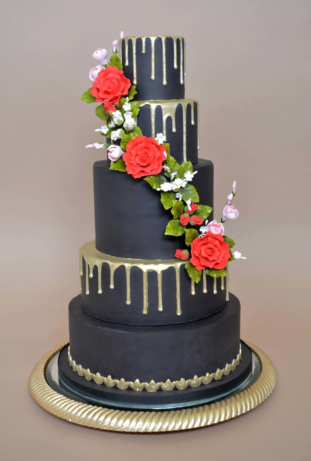 Black and Gold Drip Wedding Cake