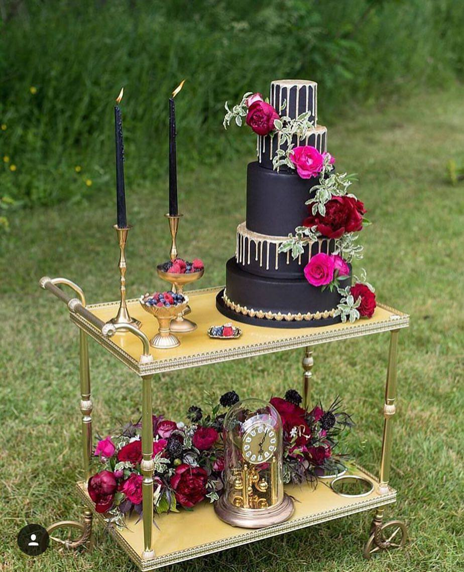 The Perfect Palette - Drip Gold Wedding Cake