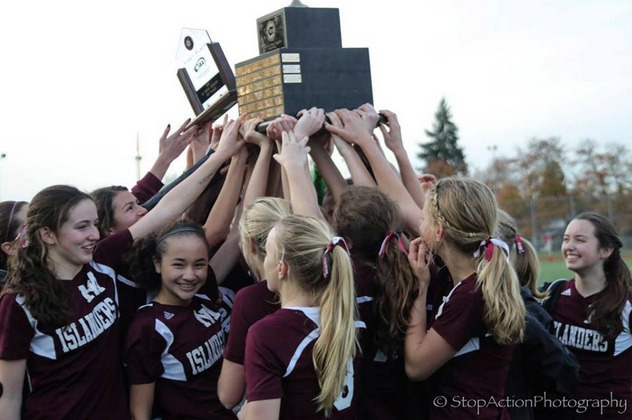 The Mercer Island Islanders girls soccer team won the Class 3A state championship in November of 2017. It was the first state title in school history for the team. Photo courtesy of Don Borin/Stop Action Photography