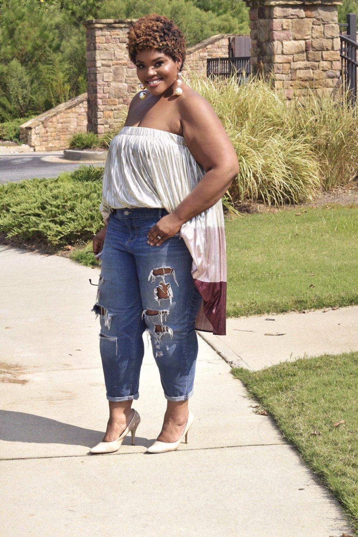 eloquii metallic skirt
