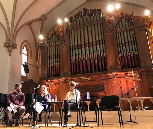 Hector Dominguez, Heather Patterson and Ginger Armbruster sharing experiences of the work on information privacy in Portland, Oakland and Seattle on November 6th at the Old Church in Portland, OR.