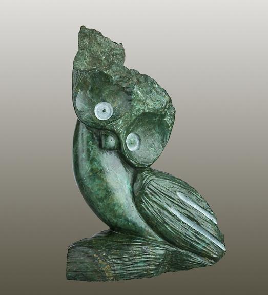 "Smiling Owl, verdite, 5 x 4 x 2.5 "", 2 lbs."