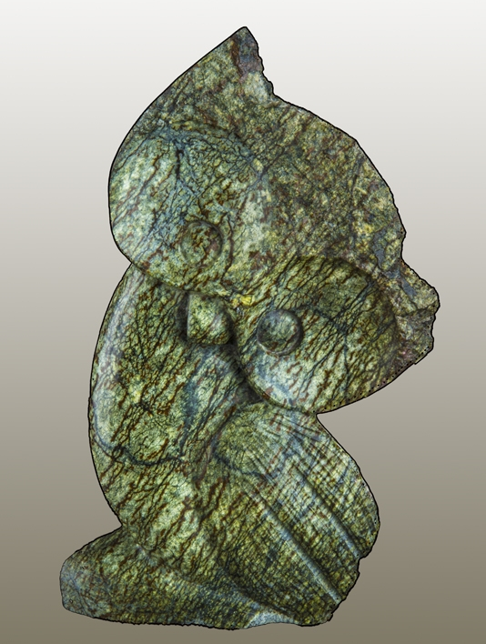 """Wise Owl, leopard stone, 9.5 x 6 x 2 """", 3 lbs."""