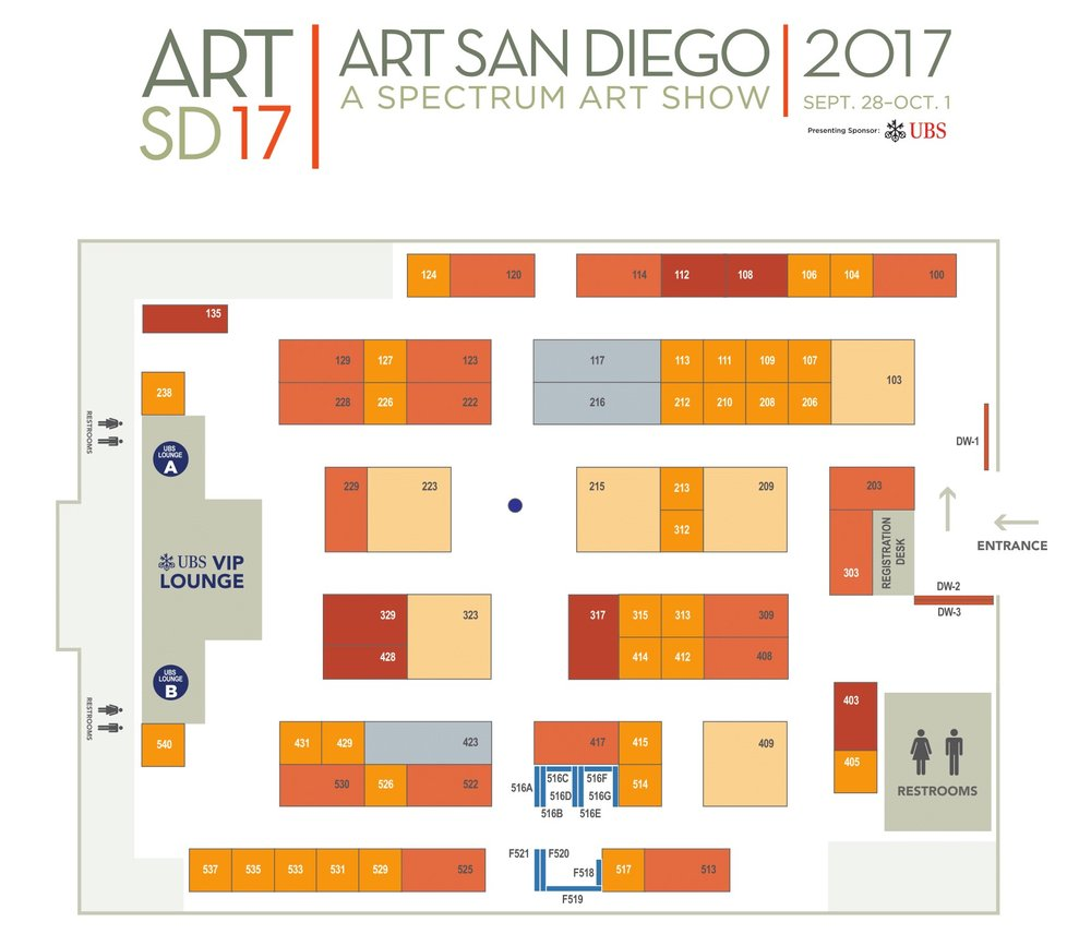 Visit Gedion Galleries in BOOTH #135 at the top left of the map.