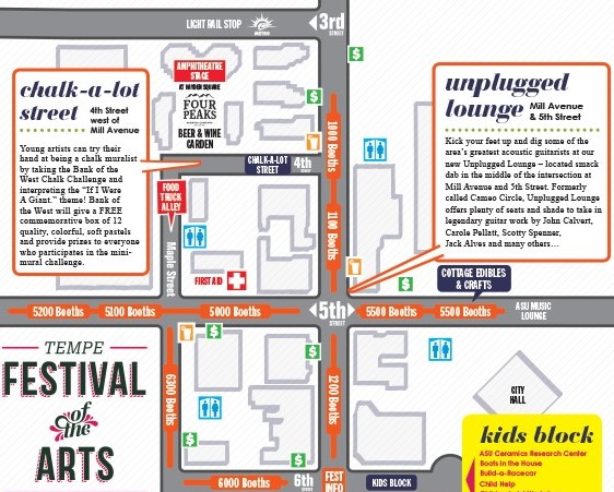LOCATION/LOCATION/LOCATION: Booth #5220 is located on 5th Street on the left side of this map right above the Tempe Festival of the Arts logo.