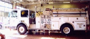 Engine 1 was a 1989 FMC.This engine was equiped with hard suction and its primary function is drafting in areas with no hydrants. It is also equipped with 6 hand lines and a pre-piped deck gun.
