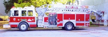 "Ladder 1 was a 2000 Sutphen with a 70"" platform. This truck was normally the first out structure truck at the Headquarters station. It was equipped with a thermal imager, 4 hand lines and 2 master stream devices on the platform."
