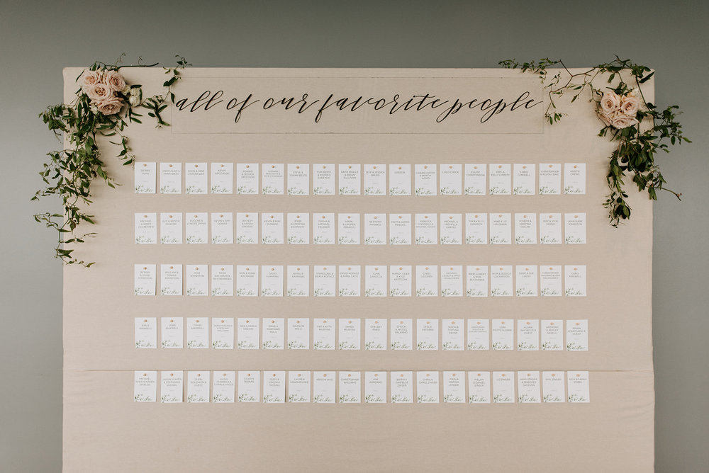 custom wedding planners detroit michigan event design paper goods florals escort card wall neutral