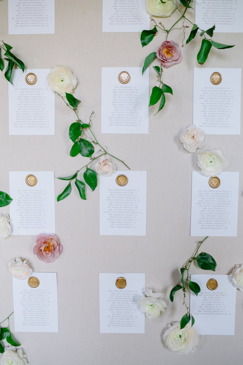 custom wedding planners michigan event design paper goods florals escort card wall
