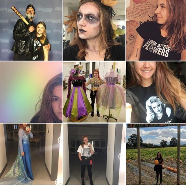 #top9 Meeting Jeffery Dean Morgan, spooky fairy makeup, new tattoo, random rainbows, costume construction, Bettie Wood merch, Elsa dress, first day of school, pumpkin patch. A good year 🖤. #instagramtop9 #makeup #costumes #college #school #drag #pumpkinpatch #selfies #walkerstalker #jdm #jefferydeanmorgan #imetnegan #iamnegan #2018