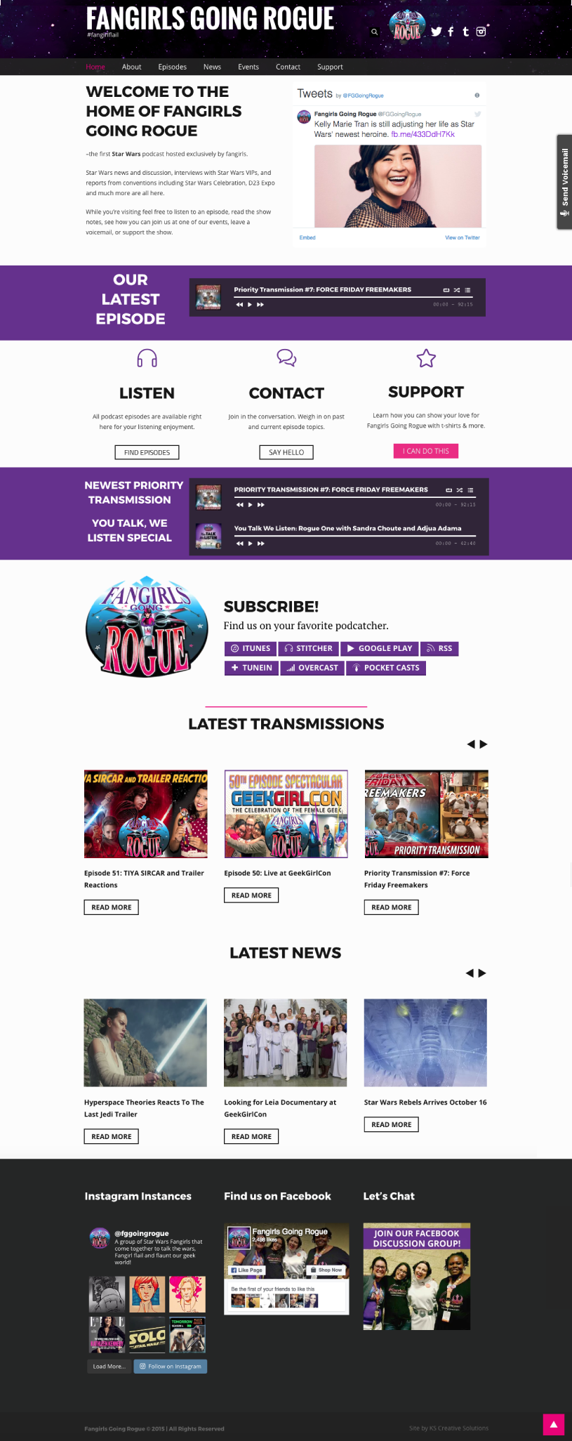 Podcast Website Home Page - Fangirls Going Rogue