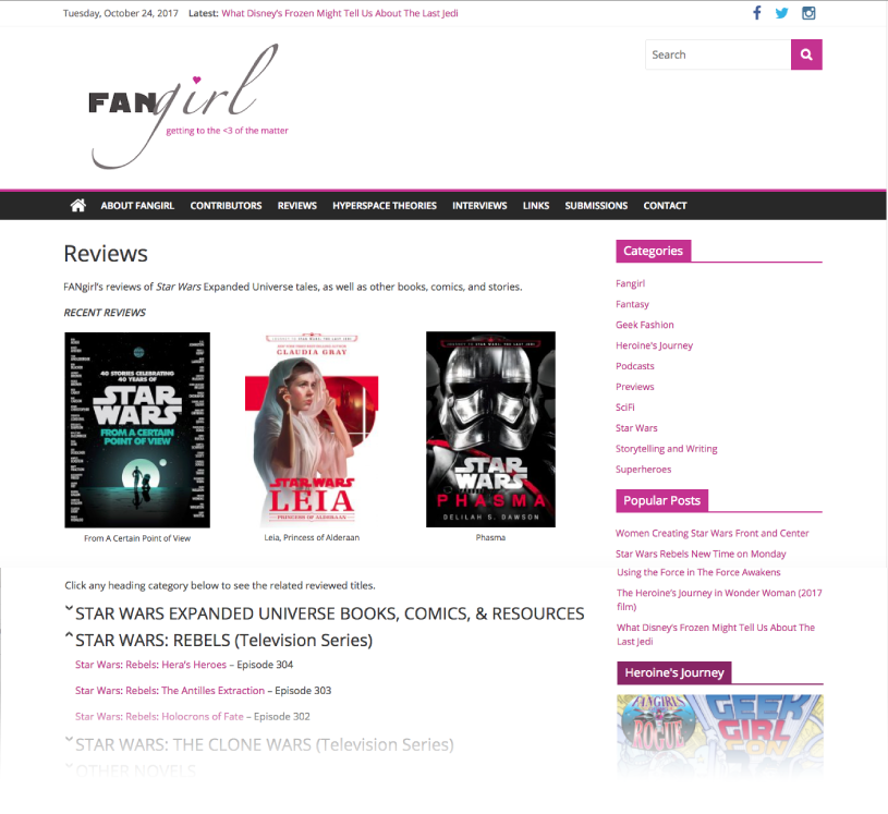 Reviews Page - FANgirl Blog
