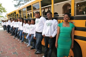 """Miss Pat"" as she stands with a group of CATCH students on the the first day the school moved to Leimert Park in 2008."