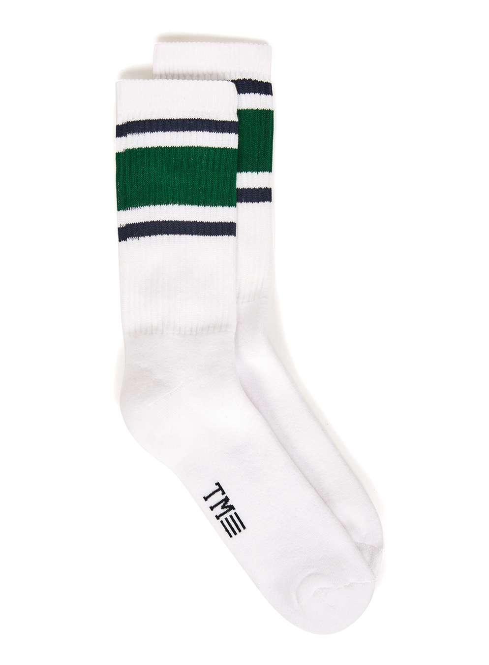 Topman White And Green Stripe Tube Socks