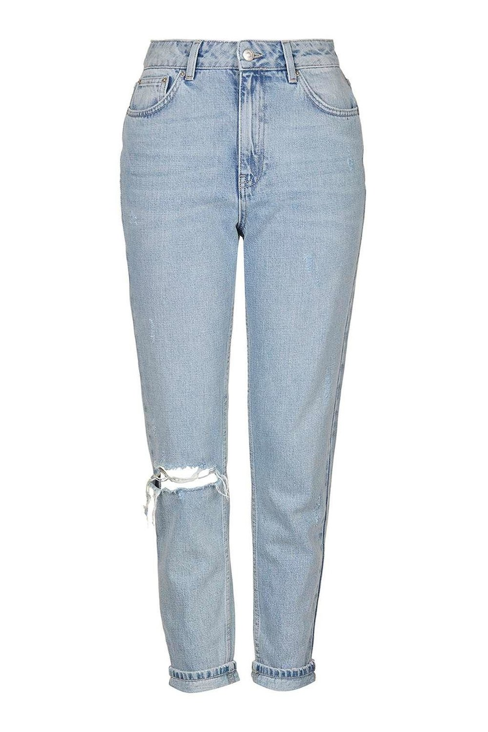 TopShop MOTO Bleach Rip Mom Jeans