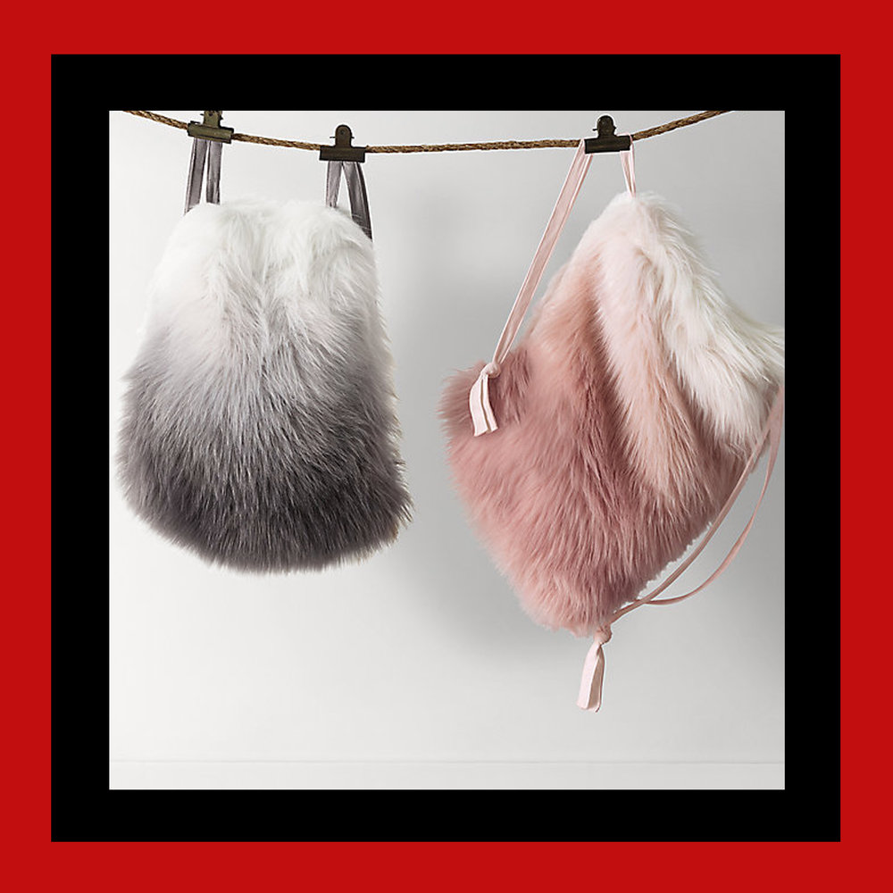 OMBRÉ KASHMIR FAUX FUR DRAWSTRING BACKPACK