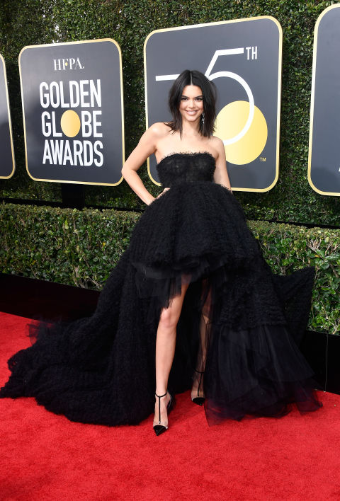 KENDALL JENNER  The model wore Giambattista Valli to the 75th Golden Globes