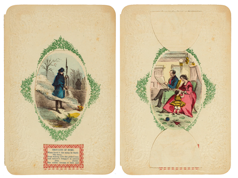 "Another fold-open card from the Civil War era: ""Thoughts of Home."""