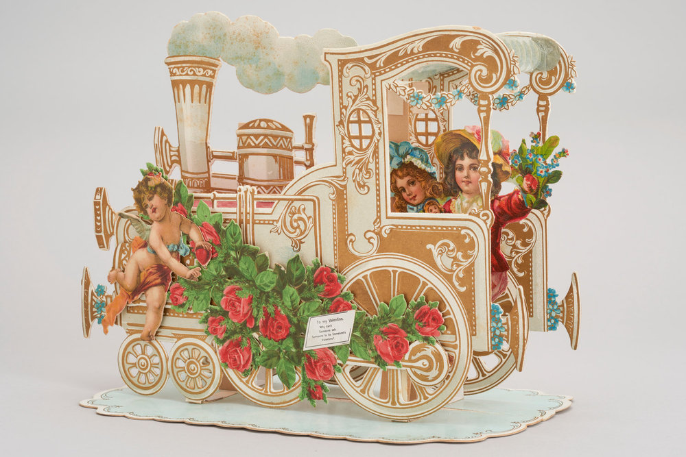 This German card from around 1900 folds open into a three-dimensional train.