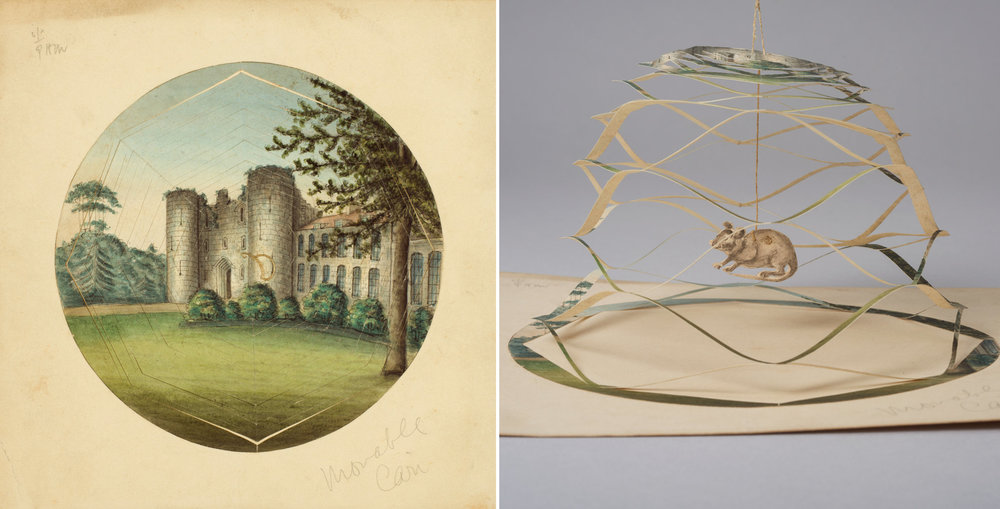 A cobweb Valentine, probably British, circa 1830-60. A string lifts up the castle to reveal a mouse in a trap.