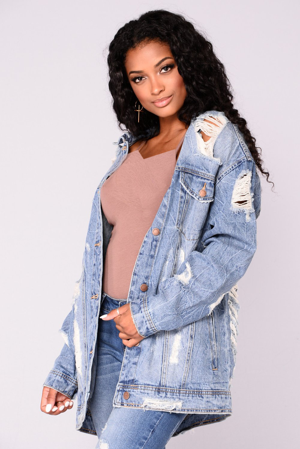 Krissy Oversized Denim Jacket - Medium Wash