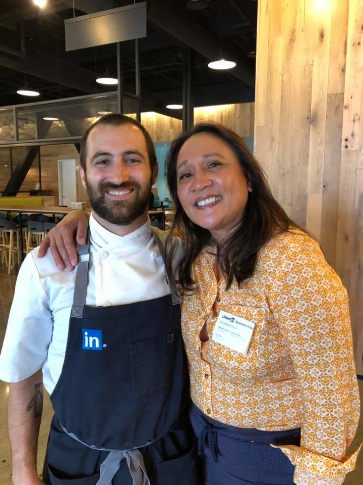 Our CEO, Bernadette Sarouli, with LinkedIn Chef Jeremy Imas and Eco Refill Systems program partner.